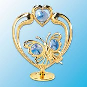 Gold Plated Butterfly in Heart on Stand w/Blue Swarovski Element Crystals