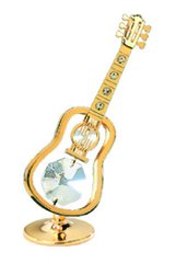 Gold Plated Guitar Free Standing w/Swarovski Element Crystal