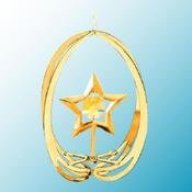 Gold Plated Star in Ellipse Ornament w/Gold Swarovski Element Crystal