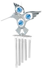 Chrome Plated Fantail Hummingbird Wind Chime w/Blue Swarovski Element Crystal