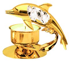 Gold Plated Dolphin T-Lite Holder w/Swarovski Element Crystal