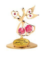 Happy Mother's Day - Angel w/Heart on Stand w/Red Swarovski Element Crystals