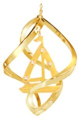 Gold Plated Sailboat Spiral Ornament w/Swarovski Element Crystals