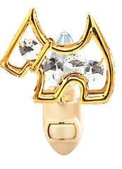 Gold Plated Scottie Dog Night Light w/Swarovski Element Crystal