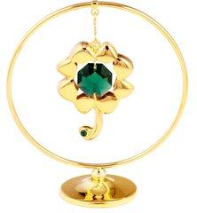 Gold Plated Four Leaf Clover Mobile Freestand w/Swarovski Element Crystal