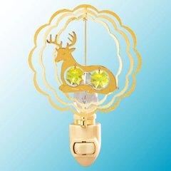 Gold Plated Twin Deer Night Light w/Swarovski Element Crystal