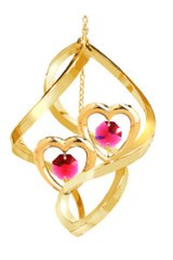 Twin Hearts Spiral Ornament w/Red Swarovski Element Crystals