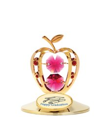 "Gold Plated Apple w/""Happy Graduation"" on Stand w/Swarovski Element Crystal"