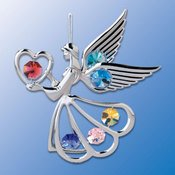 Chrome Plated Angel w/Heart Ornament w/Mixed Swarovski Element Crystal