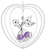 Chrome Plated Angel w/Heart in Heart Ornament w/Purple Swarovski Element Crystal
