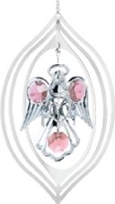 Chrome Plated Angel w/Heart in Lemon Ornament w/Pink Swarovski Element Crystal