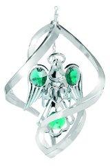 Angel w/Heart Ornament w/Green Swarovski Element Crystals