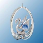 Chrome Plated Swan in Ellipse Ornament w/Blue Swarovski Element Crystal