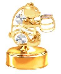 Gold Plated Bear w/ Honey Jar Music Box w/ Swarovski Element Crystal