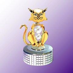 Gold Plated Cat Mirror Base Music Box w/Swarovski Element Crystal