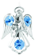 Chrome Plated Small Angel w/Star Ornament w/Swarovski Element Crystals