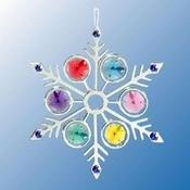 Chrome Plated Large Snowflake Ornament w/Mixed Swarovski Element Crystal