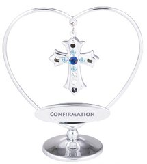 "Cross in Heart with ""Confirmation"" on Stand w/Swarovski Element Crystal"