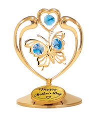 Happy Mother's Day - Butterfly in Heart on Stand w/Blue Swarovski Element Crystals