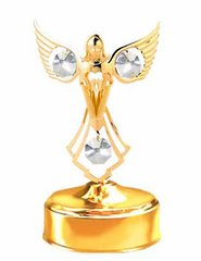 Gold Plated Praying Angel Music Box w/Clear Swarovski Element Crystal