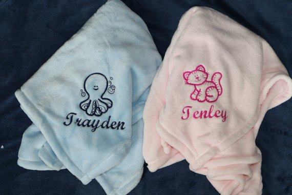 Personalized embroidered Baby blanket GREAT BABY GIFT Embroidery