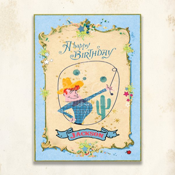 Young Boy Toddler Blue Happy Birthday Vintage Inspired Card Can Be Personalized