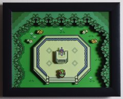 """Legend of Zelda (SNES) - """"The Master Sword"""" 3D Video Game Shadow Box with Glass Frame 10 x 12.5 inches"""