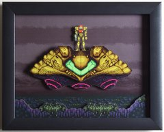 """Super Metroid (SNES) - """"The Gunship"""" 3D Video Game Shadow Box with Glass Frame 10 x 12.5 inches"""