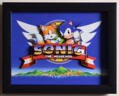 """Sonic The Hedgehog 2 (Genesis) - """"Title Screen"""" 3D Video Game Shadow Box with Glass Frame 10 x 12.5 inches"""