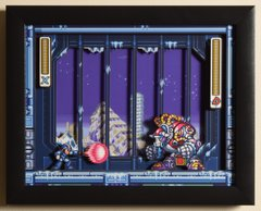 """Mega Man X3 (SNES) - """"Blizzard Buffalo"""" 3D Video Game Shadow Box with Glass Frame 10 x 12.5 inches"""