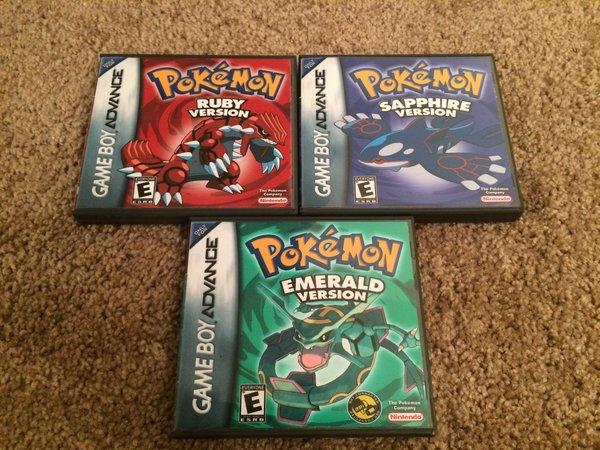 Pokemon Ruby Sapphire Emerald Game Case Bundle With Slip