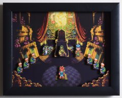 """Chrono Trigger (SNES) - """"The Courtroom"""" 3D Video Game Shadow Box with Glass Frame 10 x 12.5 inches"""