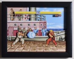 """Street Fighter 2 (SNES) - """"The Dock"""" 3D Video Game Shadow Box with Glass Frame 10 x 12.5 inches"""