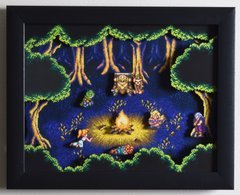 """Chrono Trigger Shadow Box - """"Fiona's Forest"""" 3D Video Game Shadow Box with Glass Frame 10 x 12.5 inches"""