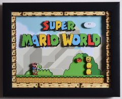 """Super Mario World (SNES) - """"Title Screen"""" 3D Video Game Shadow Box with Glass Frame 10 x 12.5 inches"""