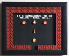 """Legend of Zelda (NES) - """"It's Dangerous To Go Alone"""" 3D Video Game Shadow Box with Glass Frame 10 x 12.5 inches"""