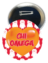 Chi Omega Logo Heart Button