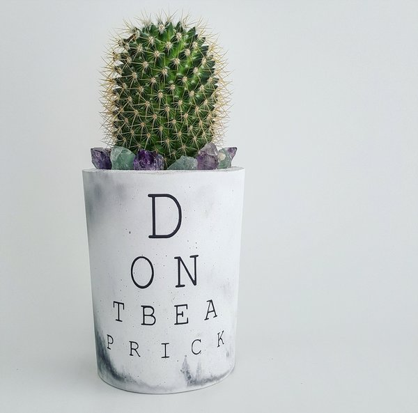 Cement Planter - Eye Chart - Don't Be A Dick