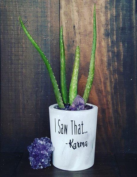 Cement Planter - I Saw That... -Karma