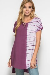 Side to Side Tie Dye Top - Mauve