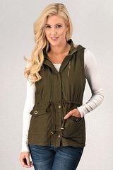 Olive Fur Lined Vest