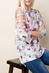 Floral Daze Long Sleeve Open Shoulder Top