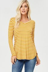 Mustard Stripe Long Sleeve Tee - Plus Size
