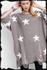 Starry-Eyed Distressed Tunic Sweater