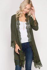 Good Vibes Olive Lace Cardigan