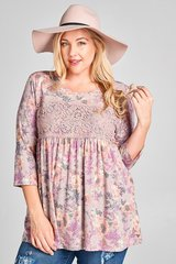Faded Floral Top - Plus Size
