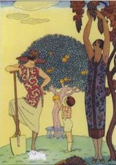 'Fruit Harvest' Art Deco Greeting Card with Barbier Illustration