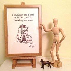 I Am Human... Art Print of Vintage Book Illustration with The Smiths Lyrics. Designed by Ex Child Genius
