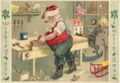 'Santa's Workshop' Wonderful Christmas Card of a Busy Santa Making Toys!