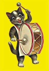 'Bang The Drum' Super-Cute Happy Cat Greeting Card